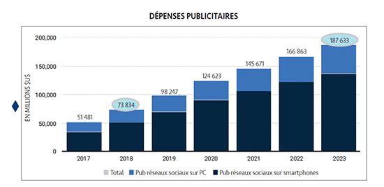 graphique dépenses publicitaires entreprises réseaux sociaux