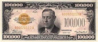 billet 100 000 dollars argent