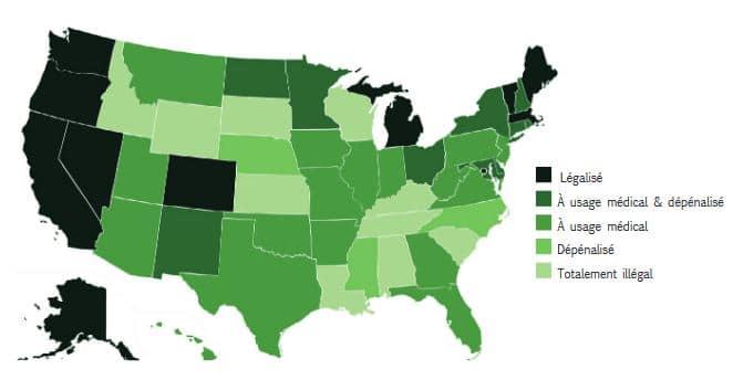 carte légalisation cannabis Etats-Unis