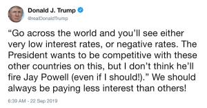 tweet Donald Trump Fed baisse taux d'intérêt