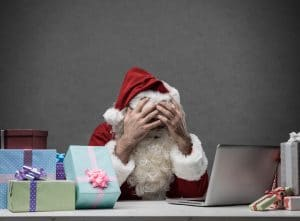 stress des fêtes de fin d'année Père Noël