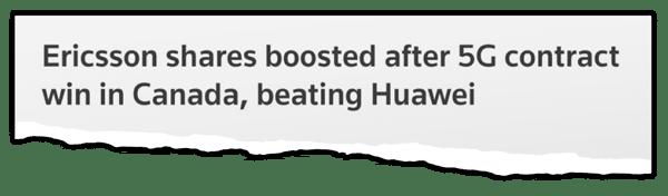 Ericsson voit le cours de son action s'envoler après avoir remporté un contrat 5G au Canada, coiffant Huawei sur le poteau